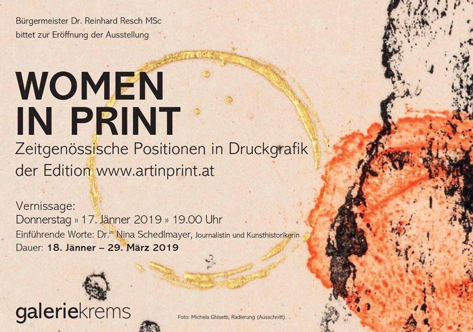 """Ausstellung """"women in print"""" in der galeriekrems"""